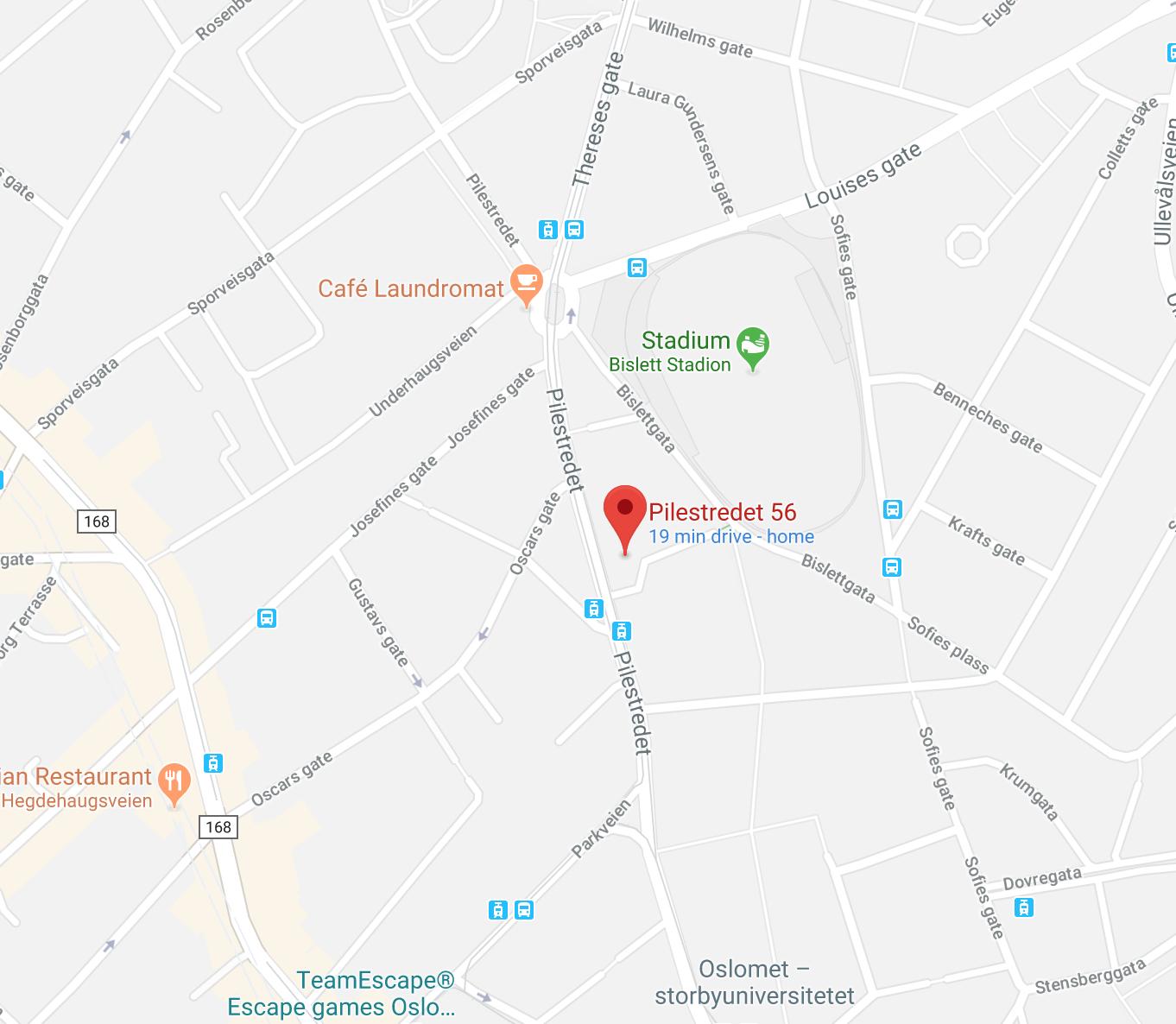 Pilestredet 56 Google Map